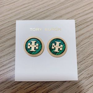 Tory Burch Simple Logo Matte Gold Earrings